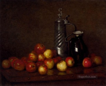 Still life Painting - Apples With A Tankard And Jug still lifes Joseph Claude Bail
